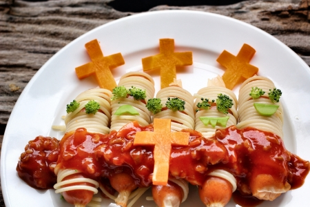 Spaghetti food in halloween day Imagens
