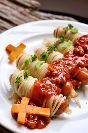 Spaghetti food in halloween day Stock Photo