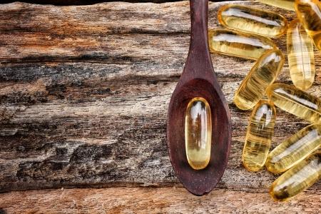 Close-up of cod liver oil capsules