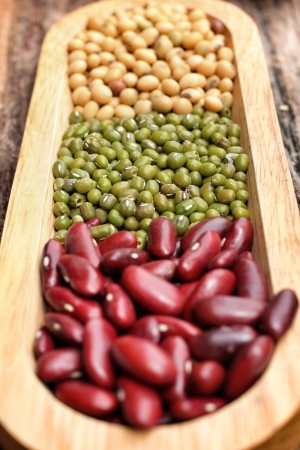 azuki bean: Close up of gram green soy bean and azuki bean