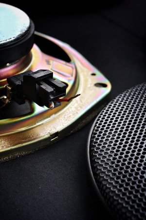 Close-up of subwoofer black speaker photo