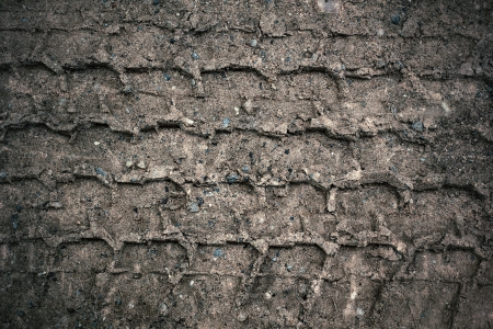 Wheel tracks on the soil. Stock Photo - 22724305