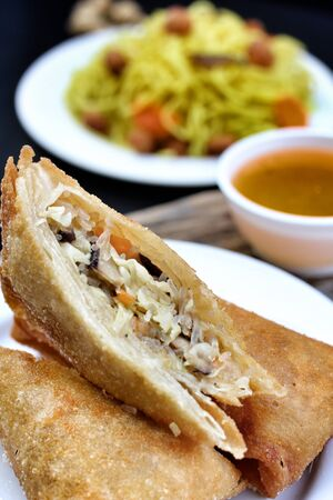 egg rolls with vegetables - vegan food photo