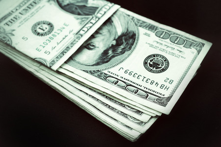 pay wall: Many dollars banknotes  Stock Photo