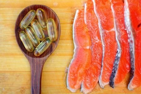 cod oil: Close-up of salmon oil capsules