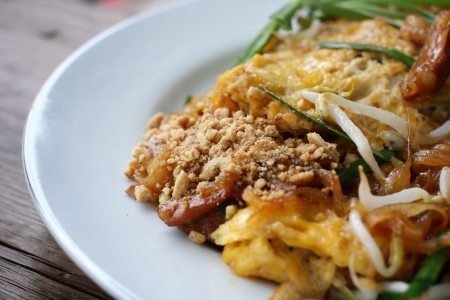 pad thai make of fried rice noodles photo