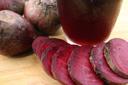 Close-up of beetroot smoothies. photo