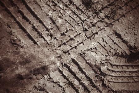 토양에 바퀴 트랙입니다. 스톡 콘텐츠