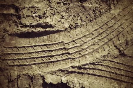 muddy: Wheel tracks on the soil.