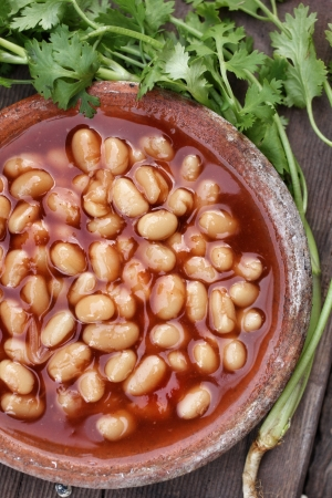 White beans in tomato sauce photo