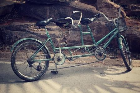 close up of retro tandem bicycle