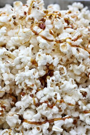 Close up of popcorn with caramel photo