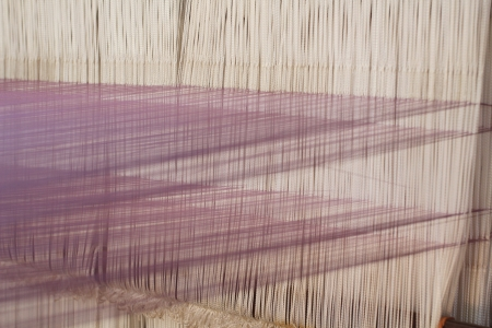 Closeup of weaving thread for the textile industry Stockfoto