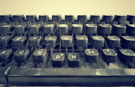 Close up of antique typewriter keys - vintage retro photo