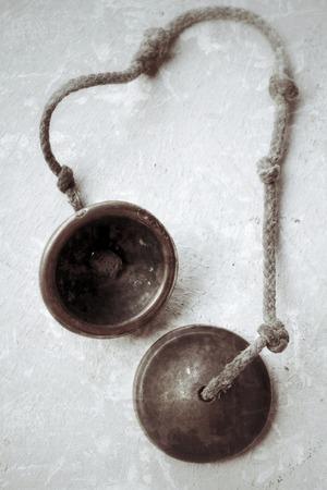 cymbal: vintage cymbal on gray background