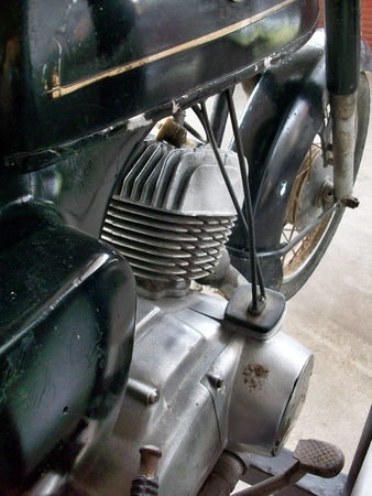 close up of vintage motorcycle engine photo