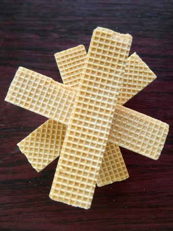 Close up of delicious wafer chocolate