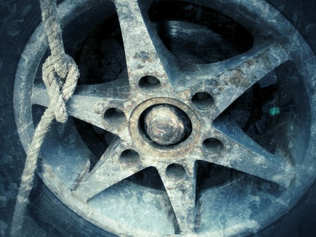 Close up of vintage wheels photo