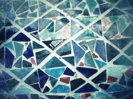 Blue tile mosaics background texture photo