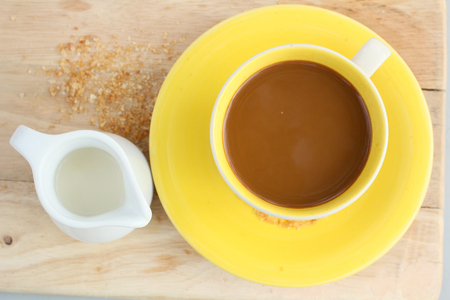 creamer: Coffee cup and fresh milk Stock Photo