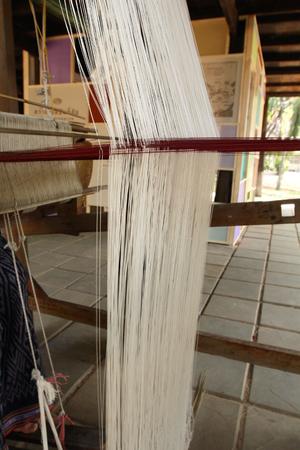 hand woven: Handmade weaving thread Stock Photo
