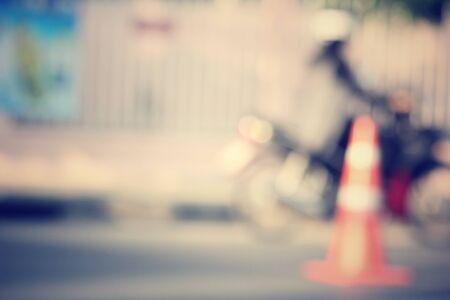 blurred of traffic cone