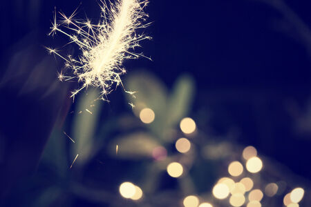 Hand with firework photo