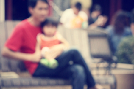 defocussed: blurred of father and son