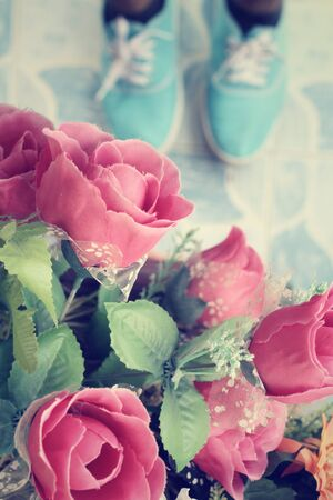 Selfie of vintage roses with shoes photo