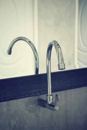 latrine: Blurred of public empty restroom with washstands mirror