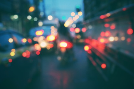 Blurred of car in city at night Stock Photo