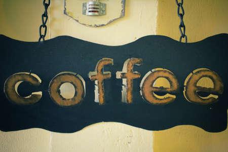 a signboard: Coffee signboard Stock Photo