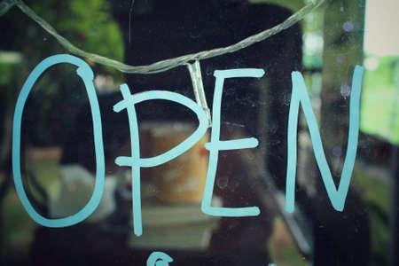 a signboard: open signboard Stock Photo