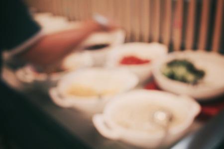 salad buffet: Blurred of buffet salad at restaurant