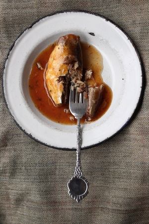 sardine can: Fish in tomato sauce - canned fish