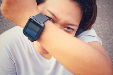 girl with a wristwatch: Woman hands with smartwatch