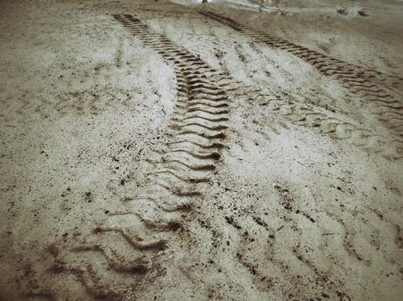 traction: Wheel tracks on the soil.