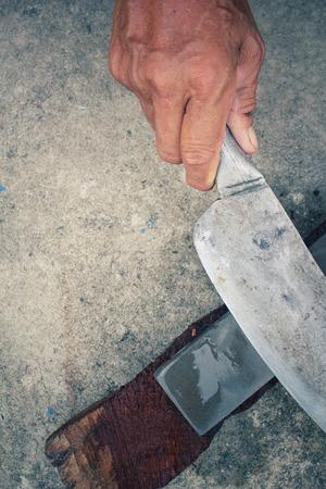 sharpening process: Vintage knife grinder