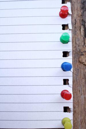 push in pins: Paper notes with colorful push pins Stock Photo