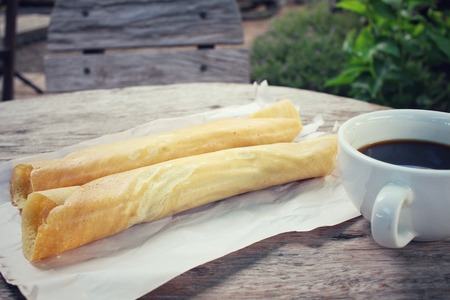 masala: Masala dosa with black coffee Stock Photo