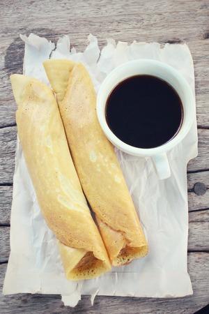 Masala dosa with black coffee Stock Photo