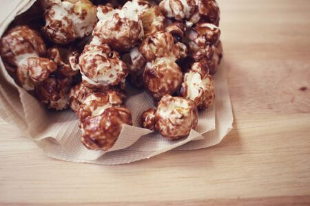healthy snack: Chocolate pop corn Stock Photo
