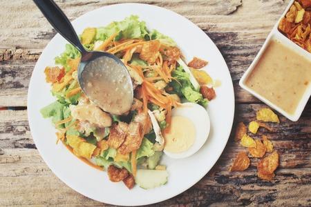 peanut sauce: Salad with tofu and peanut sauce Stock Photo