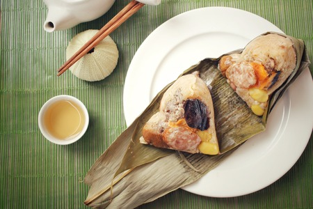 Zongzi with hot tea