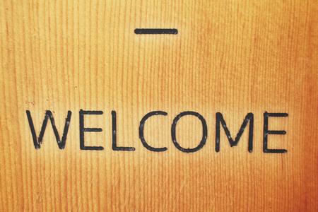 the welcome: Letrero de bienvenida de la vendimia