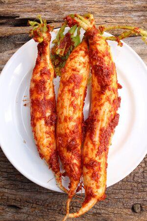 radishes: Daikon radishes kimchi korean food Stock Photo