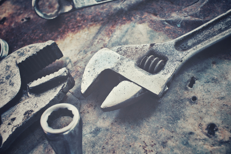 Industrial workers: Set of tools wrench Stock Photo