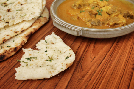 naan: Indian naan bread with curry