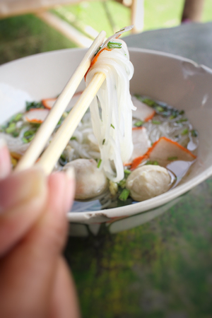 asia style: Noodles in soup of asia style Stock Photo