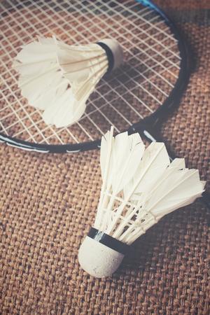 badminton racket: Shuttlecocks with badminton racket.